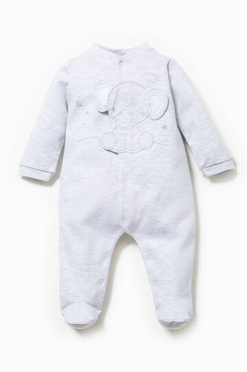 Onesie with feet and patch on chest, Grey Marl, hi-res