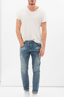 Stretch jeans with rips, Denim, hi-res