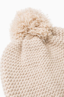 Knit beanie cap with pompom, Beige, hi-res