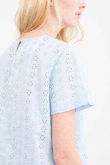 T-shirt crop cotone tinta unita, Azzurro celeste, hi-res