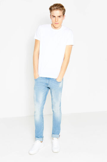 Worn-effect, skinny-fit jeans with whiskering, Light Wash, hi-res