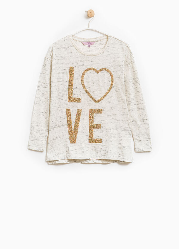 100% cotton T-shirt with beads | OVS