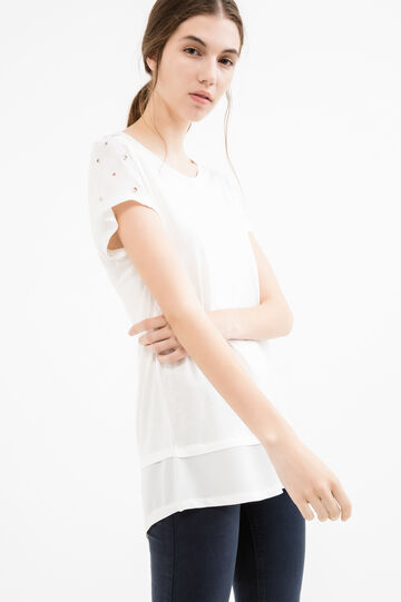 100% viscose T-shirt with eyelets, Milky White, hi-res