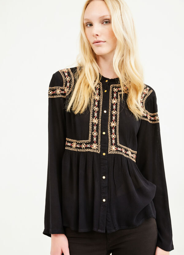 100% viscose blouse with embroidery | OVS