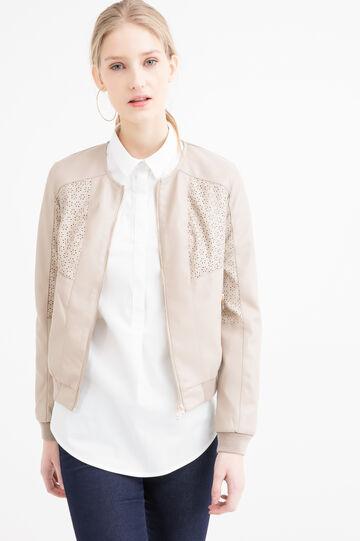 Plain leather look jacket, Beige, hi-res