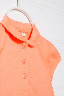 Polo cotone stretch con strass, Rosa corallo, hi-res