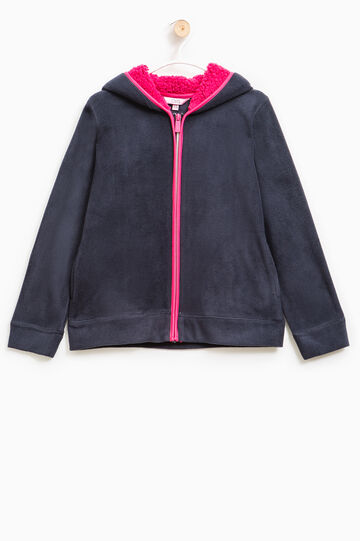 Fleece top with hood and fur lining, Blue, hi-res