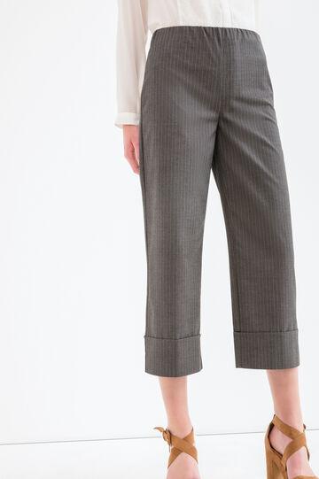 Pantaloni viscosa stretch a righe, Grigio, hi-res