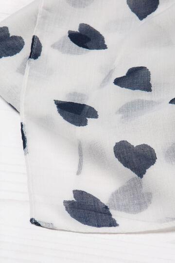 Sciarpa con stampa cuori, Bianco/Blu, hi-res