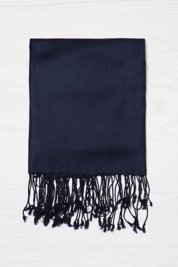 100% viscose Pashmina with fringe, Navy Blue, hi-res