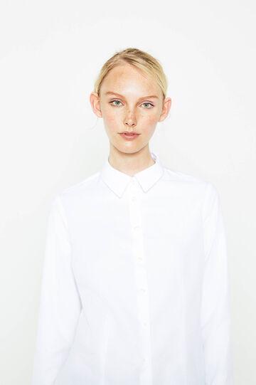 Solid colour cotton mix shirt, Optical White, hi-res