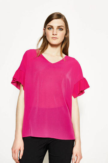 Stretch blouse with flounces