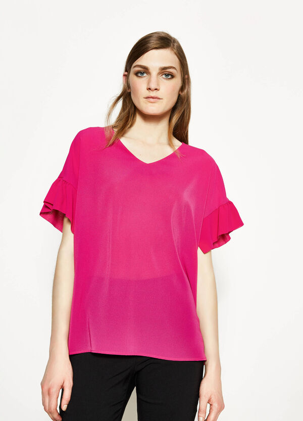 Stretch blouse with flounces | OVS
