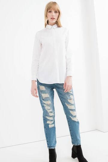 Camicia cotone carré con plissettatura, Bianco, hi-res