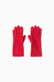 Long solid colour fleece gloves, Dark Red, hi-res