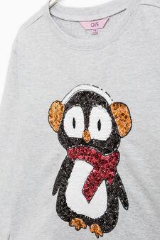 Sequinned sweatshirt in 100% cotton, Light Grey, hi-res