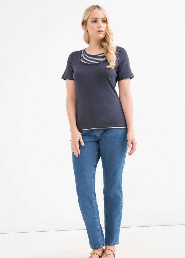 T-shirt cotone fantasia righe Curvy | OVS