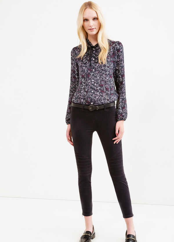 Stretch cotton jeggings with zip | OVS