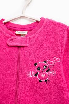 Sleep suit with panda embroidery, Fuchsia, hi-res