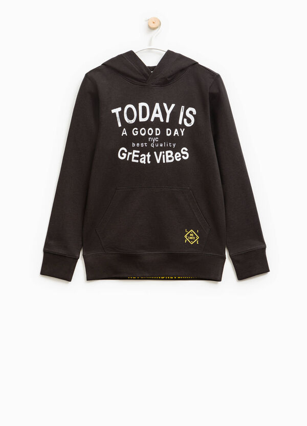 Sweatshirt with hood and printed lettering | OVS