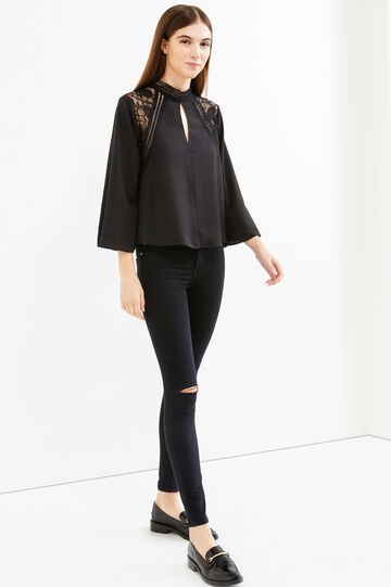 Solid colour blouse with lace inserts, Black, hi-res