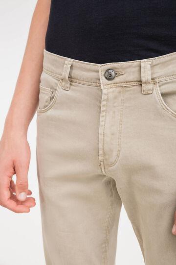 Solid colour, slim-fit stretch trousers, Beige, hi-res