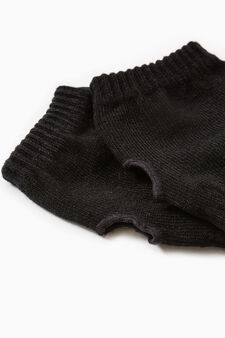 Solid colour webbed gloves, Black, hi-res