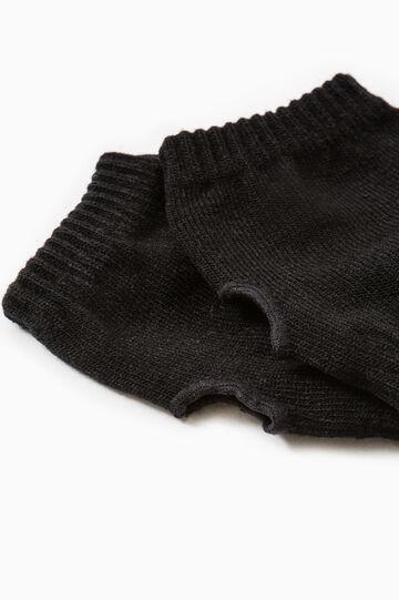 Solid colour webbed gloves, Black, hi-res