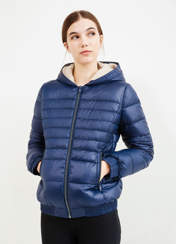 Down jacket with hood and fur lining | OVS