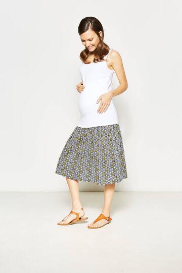 MUM skirt with elastic waist band, Blue/Yellow, hi-res