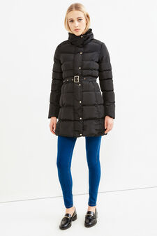 Jacket with high neck and belt, Black, hi-res