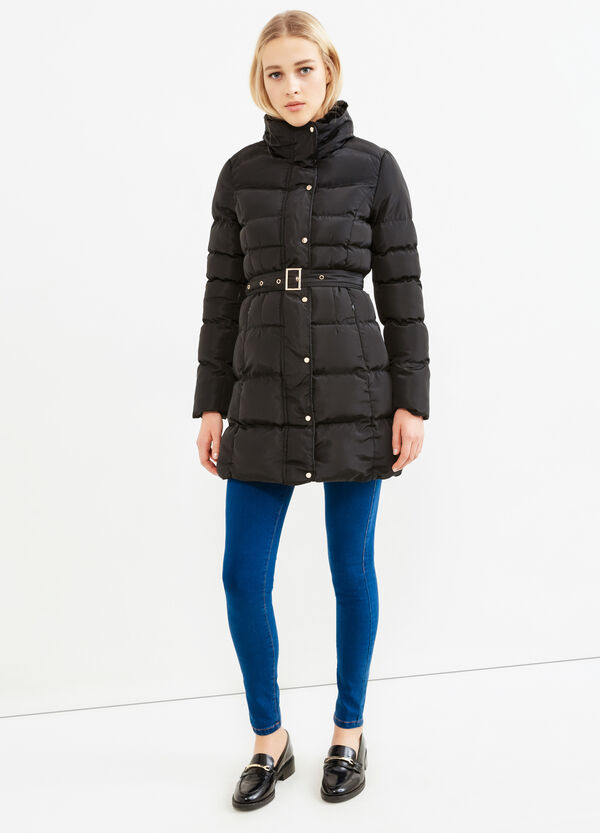 Jacket with high neck and belt | OVS