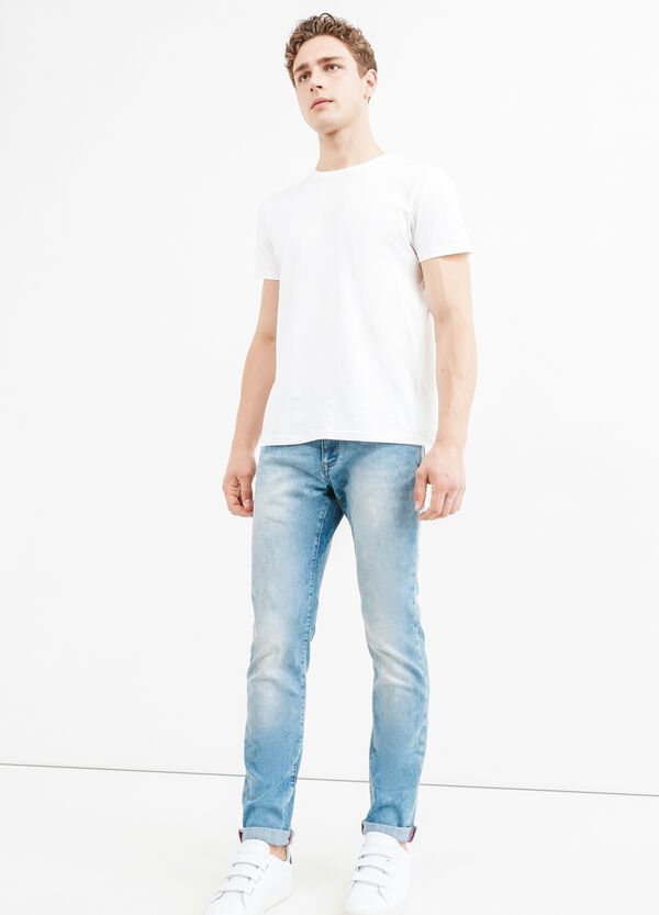 Washed and faded effect slim-fit stretch jeans | OVS