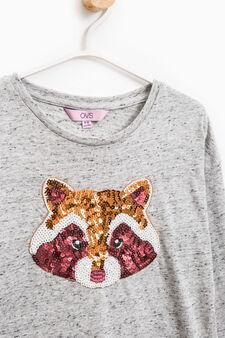 T-shirt mélange con paillettes, Grigio, hi-res