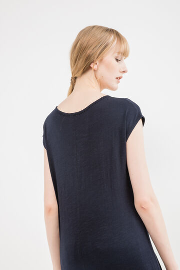 100% cotton vest top with diamanté detail, Indigo Blue, hi-res