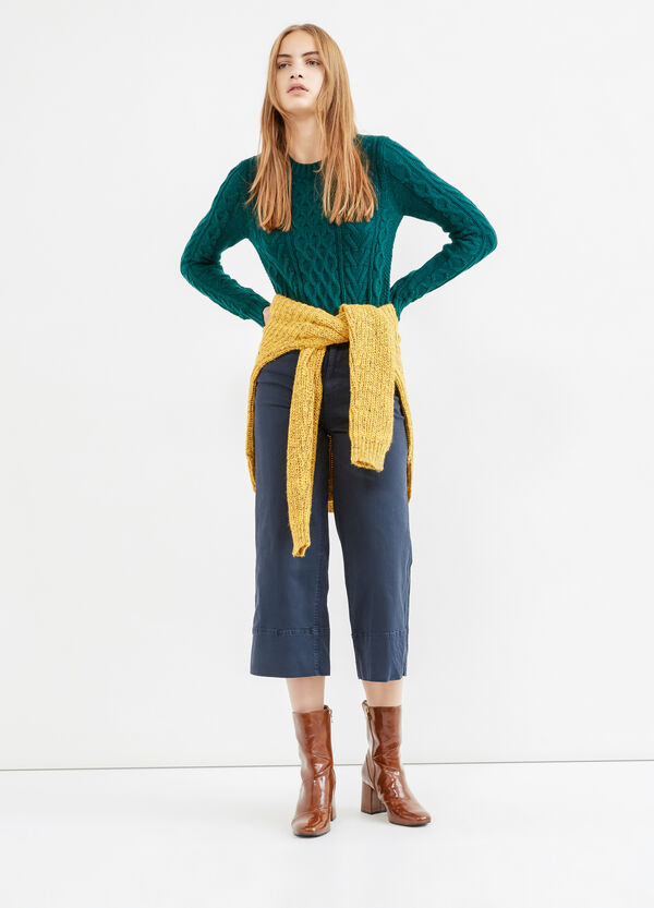 High-waisted stretch cropped trousers | OVS