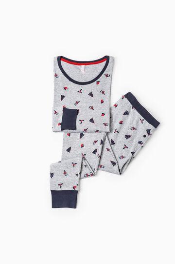 Printed stretch cotton pyjamas, Grey Marl, hi-res