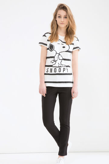 100% cotton T-shirt with Snoopy print, White/Grey, hi-res