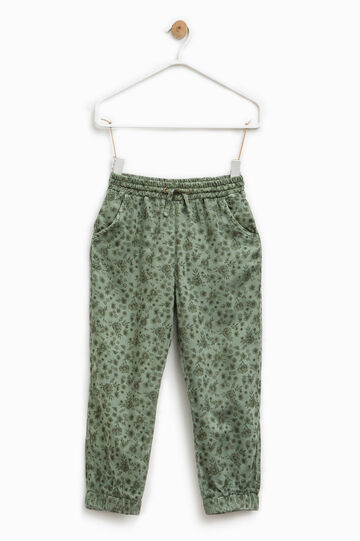 Floral patterned viscose trousers, Army Green, hi-res