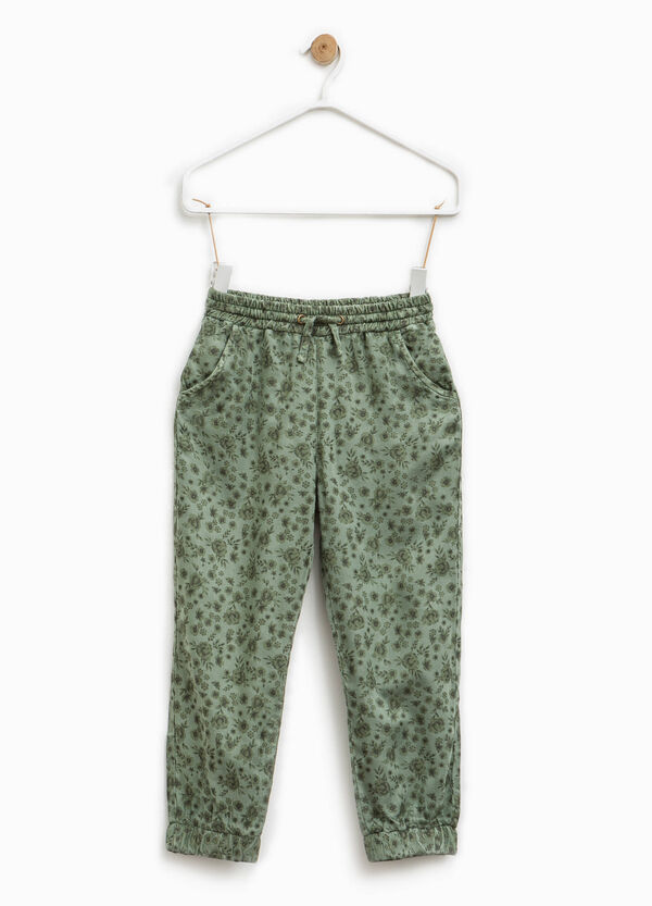 Floral patterned viscose trousers | OVS