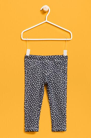 Polka dot stretch cotton trousers, White/Blue, hi-res