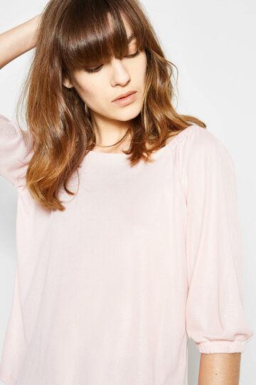 Boat neck T-shirt, Pink, hi-res