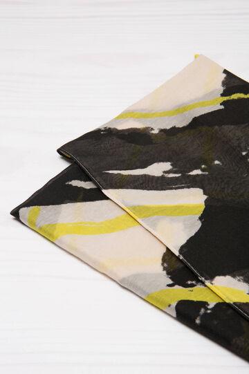 Printed scarf, Black/Yellow, hi-res