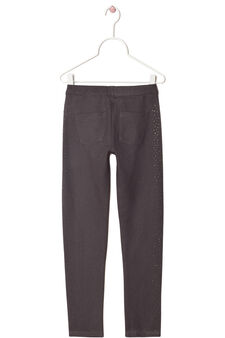 Jeggings stretch con strass, Grigio, hi-res