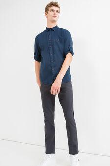 Solid colour 100% linen casual shirt, Blue, hi-res