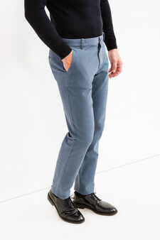 Regular-fit stretch cotton chino trousers, Azure, hi-res