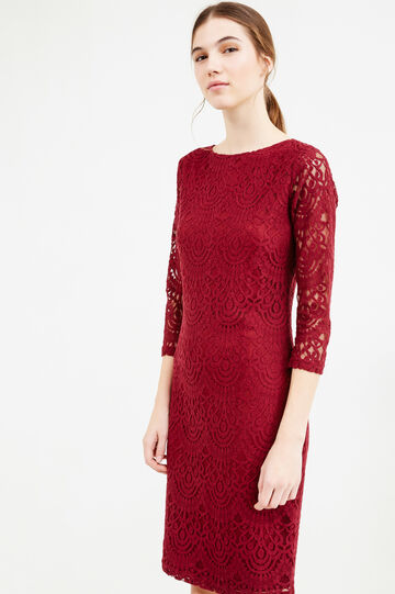 Lace dress with semi-sheer sleeves, Red, hi-res