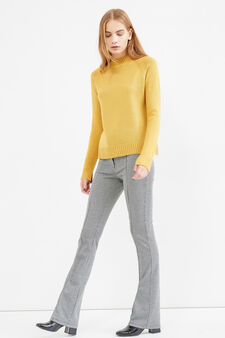 Pullover with high neck and slits, Yellow, hi-res
