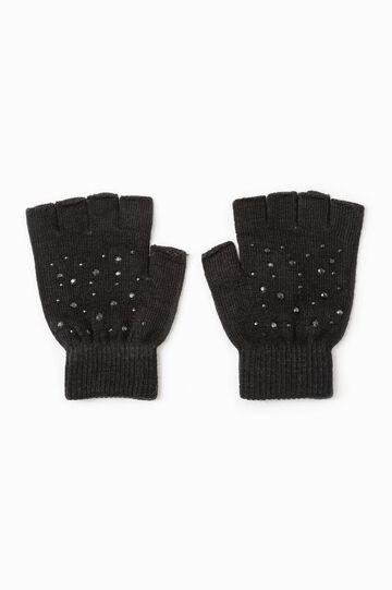 Fingerless diamanté gloves, Black, hi-res