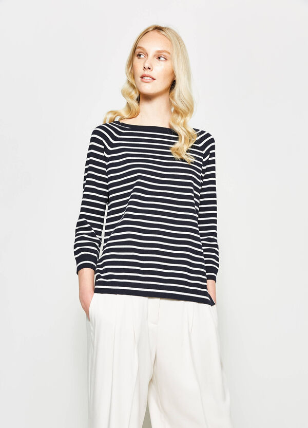 Striped pullover with slits | OVS